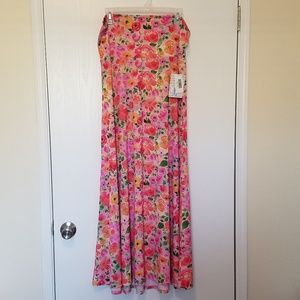 NWT'S Lularoe Floral Watercolor Maxi Skirt Size XL